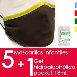 Mascarilla Infantil Higiénica Reutilizable (Pack de 5...
